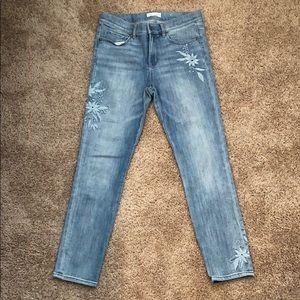 Loft modern skinny embellished light wash jeans
